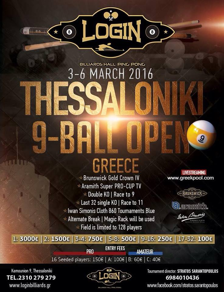 9 ball Tournament open!