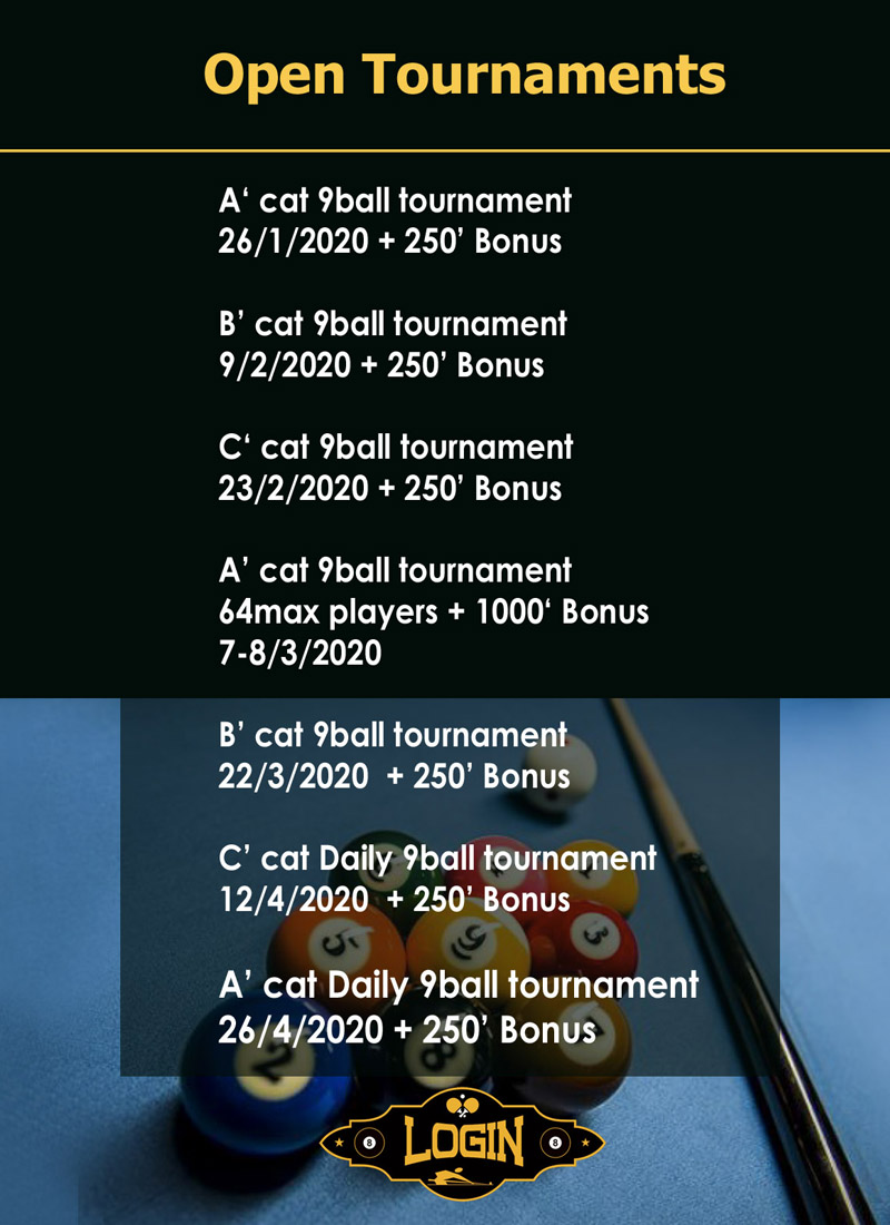 9 BALL OPEN TOURNAMENTS